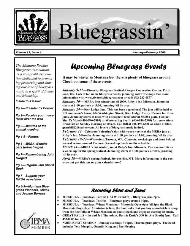 MRBA Newsletter Vol 11 Issue 1 (Jan-Feb 2009)