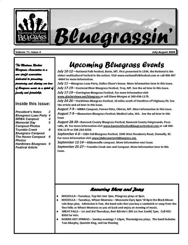 MRBA Newsletter Volume 11 Issue 4 (Jul-Aug 2009)