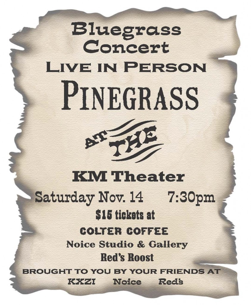 Pinegrass, a bluegrass concert in Kalispell, MT Nov 14 at 7:30 pm
