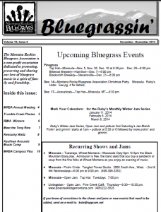 Montana Rockies Bluegrass Association Nov-Dec 2013 Newsletter