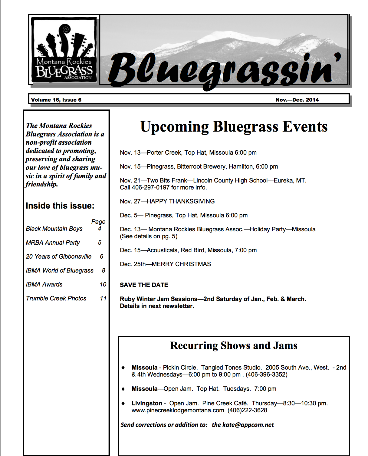 Cover of Nov-Dec 2014 Newsletter