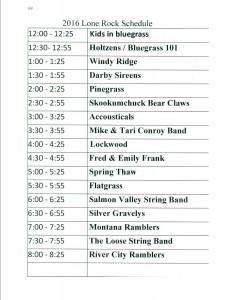 2016 Lone Rock Schedule